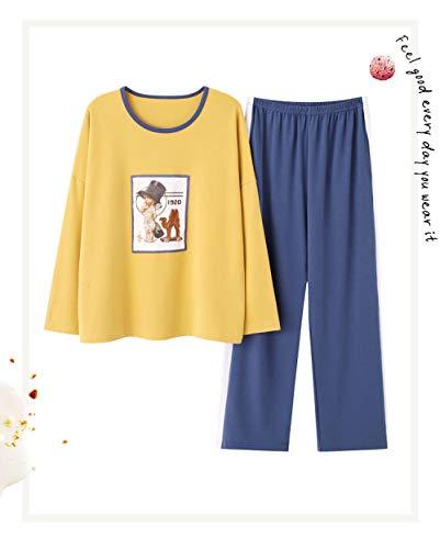 Ensembles de Pyjama,Anime, vêtements de Nuit pour Femmes, Coton, Pyjama, Hauts Jaunes, Manches Longues, col Rond et Bas, Pantalons Bleus, vêtements de Nuit, Ensemble Loungewear XL