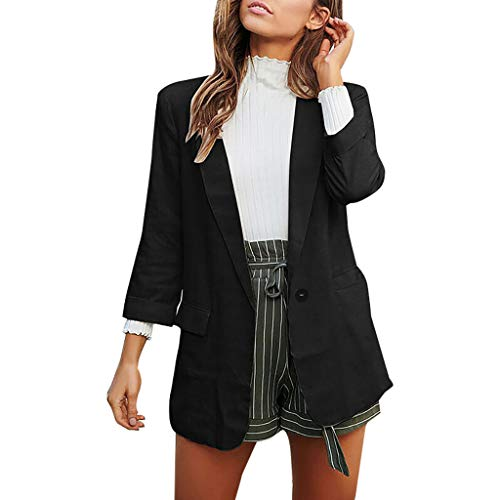 Damen Schöne Dünne Blazer Jacke Große Größen Langarm Vorne Offen Fit Büro Strickjacke Jacke Herbst Mäntel Übergangjacken URIBAKY