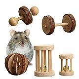 5PCS Natur Holz Small Pet Toys, Mini Kiefernholz Kauen Spielzeug Hamster, Hanteln Einrad Bell Roller Kauen Spielzeug für Meerschweinchen Ratte Kaninchen Parrot Pet Backenzähne Supplies