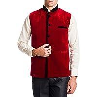 Wintage Men's Velvet Bandhgala Festive Red Nehru Jacket Waistcoat