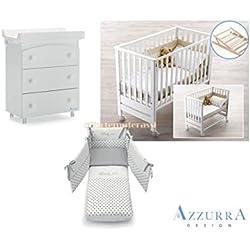 Cuna Azzurra Design Contact blanco + Juego textil gris + Bañera/cambiador 3cajones