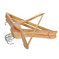 """Vinsani® [10/20 / 30/50 /100] High Quality Strong Natural Wood Wooden Coat Clothes Trouser Hangers for Shops & Homes with Trouser Bar & Skirt Notches - 44.5 cm (17.5"""")"""