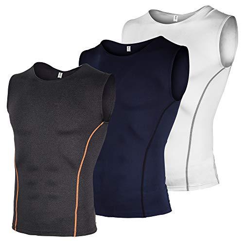 Xtextile Herren Kompressions-Sport-Tanktop 3er-Pack Cool Dry Athletic Workout Sleeveless Shirts - Weiß - Groß