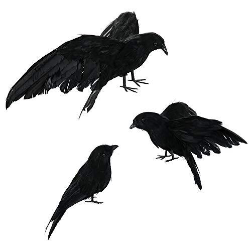 Asdomo Halloween-Deko, Schwarze Krähe, realistisch, handgefertigt, gefederte Krähe, Halloween, Vögel, Rabe, Requisite, Dekoration für drinnen und draußen, 3 Stück