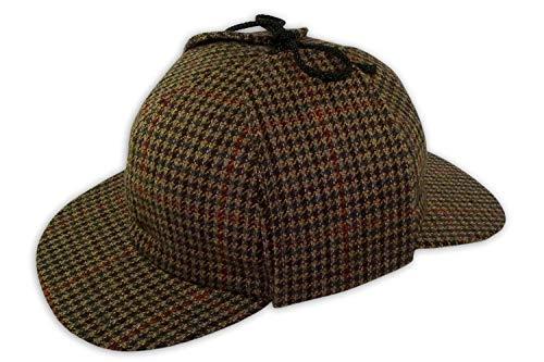 Pasquale Cutarelli Pasquale Cutarelli Tweed Sherlock Holmes Deerstalker Herrenmütze aus Wolle (9167) Braun 55cm