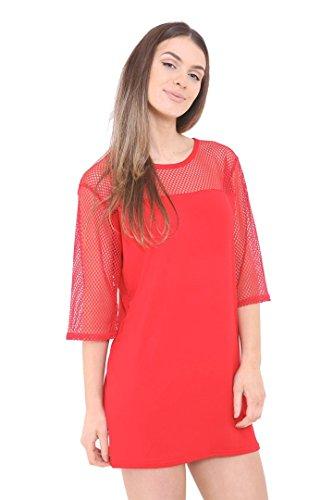 Fast Fashion - Poisson Filet Engrener Manches Contraste Mini Robe Haut - Femmes #Rouge