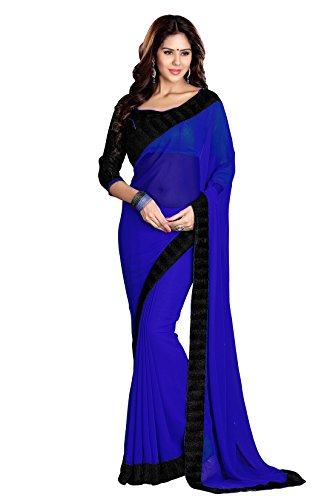 SOURBH Women's Georgette Saree With Blouse Piece (267_Blue)