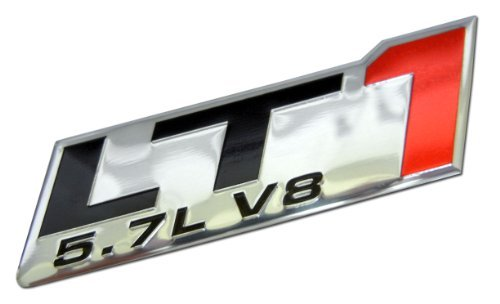 LT1 5.7L V8 Red Engine Emblem Badge Nameplate Highly Polished Aluminum Chrome Silver for GM General Motors Performance Chevy Chevrolet Corvette C4 ZR1 Buick Camaro Roadmaster Pontiac Trans AM Chevy Caprice SS Impala SS Cadillac Fleetwood Pontiac Firebird Z28 (Zr1 Emblem Corvette)