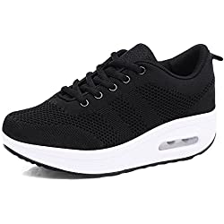 Mujer Zapatillas de Deporte Cuña Zapatos para Correr Plataforma Sneakers con Cordones Calzado de Malla Air Tacón 5cm Negro Rosa Morado Blanco 34-39 Negro 37