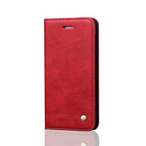 Signature Damen Leder Tasche (Compatible with Hülle iPhone SE/iPhone 5/iPhone 5S Flip Leder Tasche mit Kartenfach Schutzhülle Case Wallet Lederhülle PU Leder Case Flipcase Handyhüllen für iPhone SE (Rot, iPhone 5 5s SE))