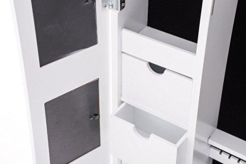 CLP Schmuckschrank Standspiegel BONITA, Bilderrahmen integriert, viele Steckplätze + Haken für Schmuck & Accessoires Weiß - 6