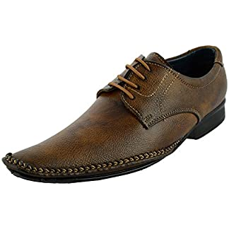 0a0dc092907fac LeeGraim Leather Looks Men`s Brown Shade Lace-Up Flats Formal Shoes 025