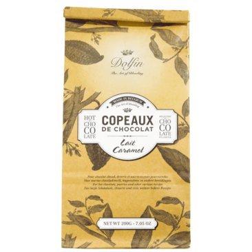 Dolfin - Trinkschokolade-Flocken Karamell 200g Beutel