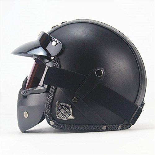 Pu-Leder Harley Helme 3/4 Motorrad Chopper Fahrradhelm Offenes Gesicht Vintage Motorrad Helm mit Maske Classic Black 2 M -