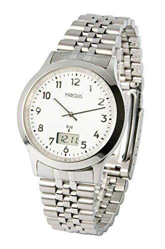 MARQUIS Herren Funkuhr, Gehäuse und Armband aus Edelstahl, Armbanduhr, Junghans-Uhrwerk 964.6503