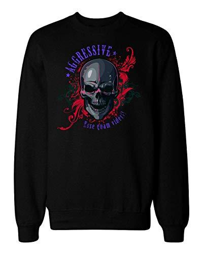 idcommerce Aggressive Skull Flames Artwork Unisex Sweatshirt Extra Large Flaming Skull Sweatshirt