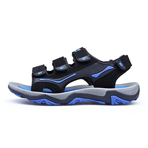 Un été Frais mens chaussons cuir sandales sandales orteil mâle mâle comfort Royal Blue