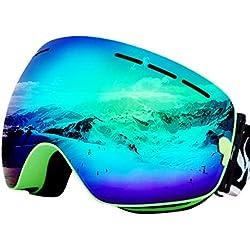 JoySki 7 couleurs professionnel unisexe Masque de ski avec miroir Revêtement anti-brouillard UV400 protection amovible Grand Angle Big sphérique double lentille pour l'extérieur Neige Ski Snowboard Patinage Motoneige Moto Sports d'hiver Lunettes (Original Box Include) Vert