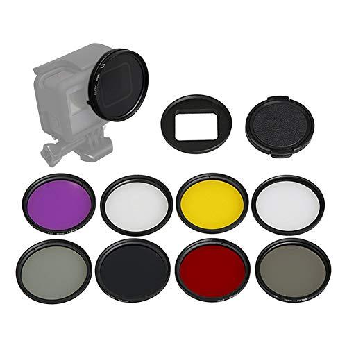 Zhuhaixmy UV/CPL/ND2/ND8/Sterne/Rot/Gelb/Lila Filter - 52 MM Kreisförmig Linse Filter mit Ring Abdeckung für GoPro Hero 7/Hero 6/Hero 5 Aktion Kamera