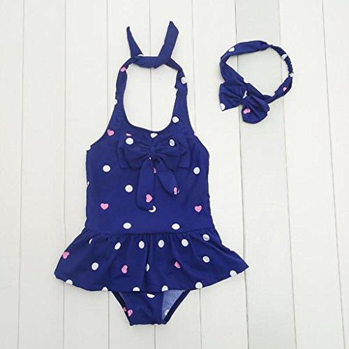 Kostüm Mädchen Verkauf Schwimmen - SUNNY Kleine Mädchen Punktmuster Bademode Kinder Ein Stück Strandkleidung Urlaub Schwimmen Kostüm ( Farbe : Blau , größe : S(70-90CM) )