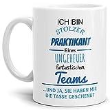 Tasse mit Spruch Stolzer Praktikant Eines Ungeheuer Fantastischen Teams Weiss - Abschieds-Geschenk/Büro / Arbeit