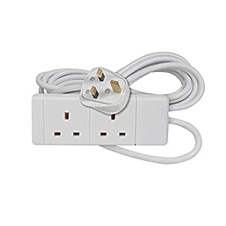 Invero® 2 Way Gang Double Socket Power Mains Extension Lead 15M Metre Cable British Approved 13A Amps - White