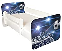 TODDLER BED WITH FREE MATTRESS Blue Football Design Removable side panels