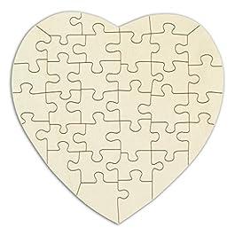 Kopierladen Puzzle di Legno Cuore Personalizzabile, Puzzle Vuoto di Legno Compensato a Forma di Cuore, 34 Pezzi, Dimensioni ca. 29 x 29 cm