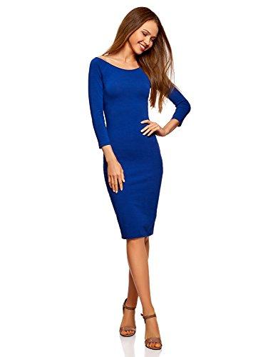 oodji Ultra Damen Tagless Enges Kleid mit U-Boot-Ausschnitt, Blau, DE 40 / EU 42 / (Kleid Blauen Sexy)