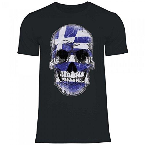 Royal Shirt df15 Herren T-Shirt Griechenland Greece Flagge | WM Em Fußball Totenkopf Trikot, Größe:L, Farbe:Black