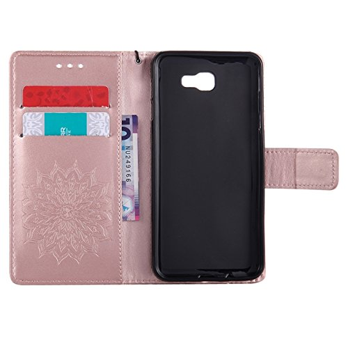 YHUISEN Galaxy J5 Prime Case, Sun Flower Druck Design PU Leder Flip Wallet Lanyard Schutzhülle mit Card Slot / Stand für Samsung Galaxy J5 Prime / On5 2016 ( Color : Green ) Rose Gold