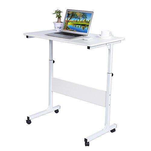 EBTOOLS Pflegetisch, weiß Höhenverstellbar Laptoptisch Beistelltisch Computertisch Notebookständer Laptop-Wagen Frühstück Tablett, Sofatisch Arbeitstisch Schreibtisch mit Rollen, 31x 19 x 24-35 Zoll