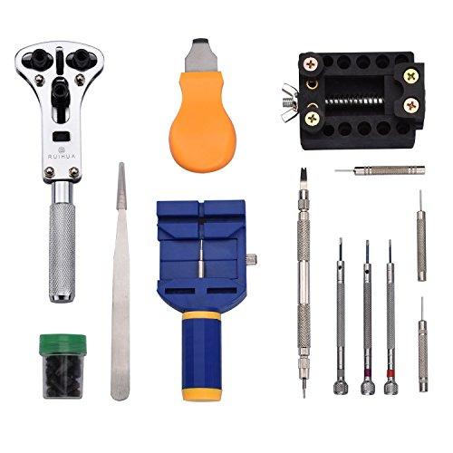 Uhrenwerkzeug ZEIGER Reparatur Satz Uhrmacherwerkzeug Gehäuseöffner Armbandkürzer Stiftausdrücker Pin Remover Tool kit (Uhrenwerkzeug Satz)