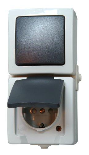 Kopp Nautic Steckdose und Schalter Kombination für Feuchtraum, IP44, 250V (16A), Aufputz Schutzkontakt-Steckdose mit Deckel & Wechselschalter, erhöhter Berührungsschutz, grau, 138556008
