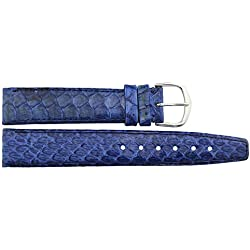 Watch Strap in Blue PU - 18mm - snake skin - buckle in Silver stainless steel - B18BluSna33S