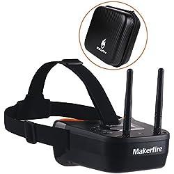 MakerStack 5.8Ghz Mini FPV Goggles 3 pulgadas 40CH FPV Video Headset Gafas con doble RP-SMA Antena y bolso incorporado 1200mAh Battery para FPV Racing Drone Quadcopters