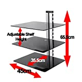 King Triple Black Tempered Safety Glass Floating Shelf x 3, 38cm Width, Maximum 10kg per shelf for DVD players, TV Accessories, Games Consoles, SKY + Virgin boxes, etc.