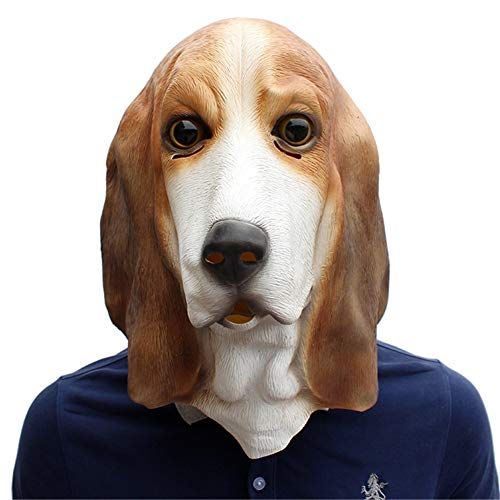 Kostüm Dog Ear - BARBEDINGROSE Big Ear Dog Headgear, Halloween Festival Partyzubehör Haustier Latex Hundemaske Basset