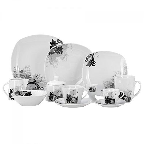 Kombiservice Black Flower 124-teilig eckig Porzellan für 12 Personen weiß mit schwarzem Blumendekor Dinner-service