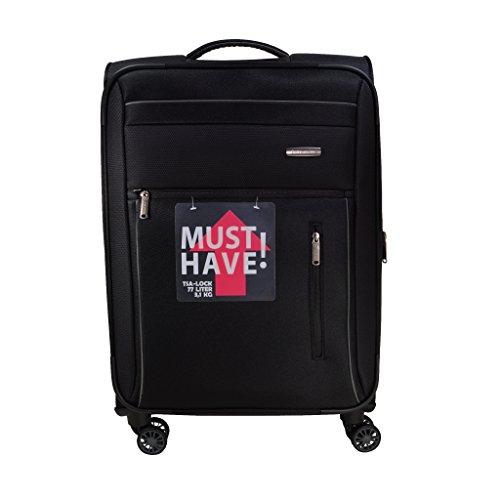 Travelite Capri 4 Rad Trolley M Erweiterbar 89848-01 Koffer, 67 cm, Schwarz (Koffer Erweiterbar Rollen Upright)