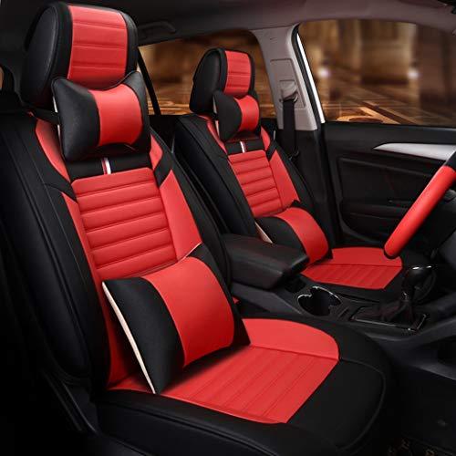 Fly Hong Luxus Auto Sitzbezug, 5-Sitzer Auto Universal Leder Motion Voller Satz Von Vier Jahreszeiten Pad Kompatibel Mit Airbag Kissen (Farbe : Rot)