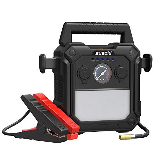 Suaoki-U29 Booster Batterie 2000A Démarrage de Voiture Jump Starter Démarrage Jusqu'à 10.0L gaz ou 8.0L Diesel Moteurs avec 150 PSI Compresseur d'Air et Bloc d'Alimentation avec 2 Ports USB et 1 Prise Allume-Cigare