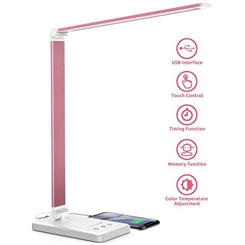 Chesbung Lámpara de escritorio LED, lámpara de mesa regulable 5 colores y 5 niveles de brillo, sensible al tacto, plegable, regulable con puerto de carga USB