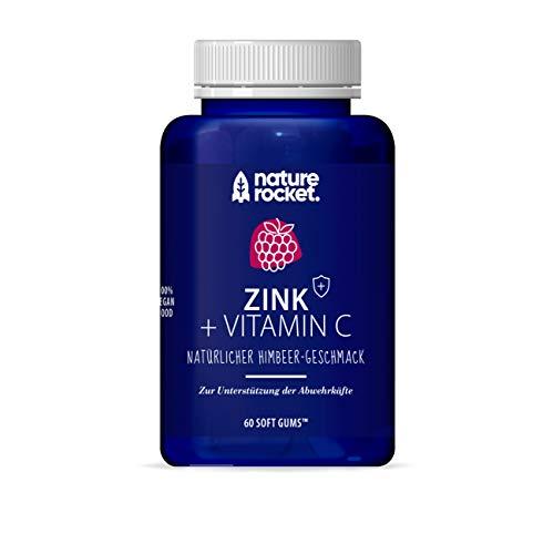 Zink + Vitamin C Vegane Softgums | Immunsystem | Natürlicher Himbeer-Geschmack | Made in Germany 60 St Monatspackung - Natur Aus Zink Vitamine