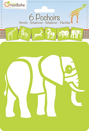 avenue-mandarine-42442md-lot-de-6-pochoirs-15x15-cm-6-motifs-assortis-sur-le-theme-animaux-de-la-sav
