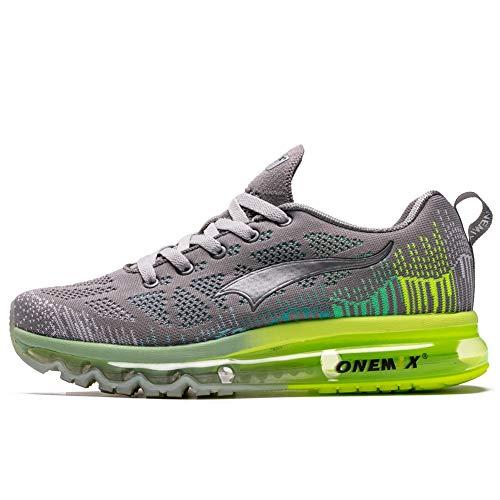ONEMIX Air Laufschuhe Herren Straßenlaufschuhe Sneaker mit Luftpolster Turnschuhe Sportschuhe Grau