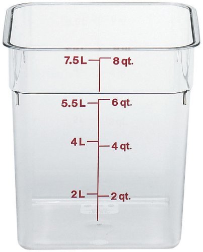 Cambro Camwear Polycarbonate Square Food Storage Container, 8 Quart (This