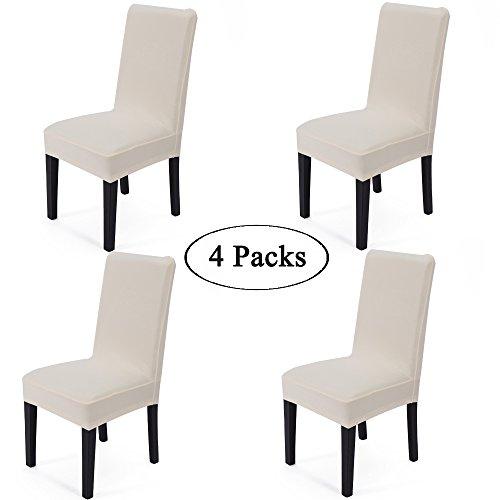 GOLD & GOLD Set di 4spandex tessuto elasticizzato rimovibile lavabile sala da pranzo della sedia Protector sedile Slipcovers Cream