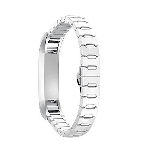 Correa-para-Fitbit-Alta-Rosa-Schleife-Reemplazo-Smart-Watch-Band-Correa-de-Reloj-de-Acero-Inoxidable-Buckle-Cermica-Bracelete-con-Hebilla-Plegable-de-Doble-Pulsera-para-Fitbit-Alta-Alta-HR-NO-INCLUIYE