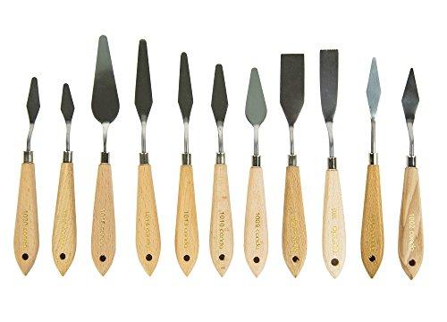 Unbekannt CONDA 11 Stück Malmesser Spachtel Messer Palette Messer Farbe Schaber Edelstahl (EINWEG)